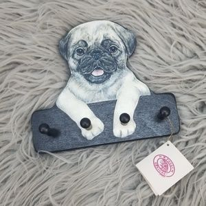 Wooden Painted Pug Hat Key Hook Holder Wall Decor
